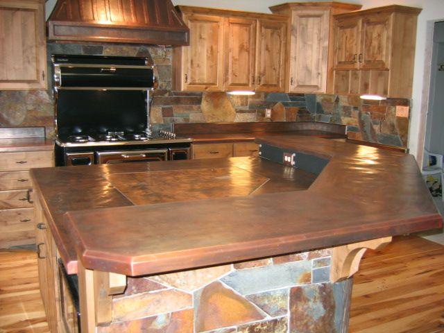 Custom Copper Kitchen Counters Copper Hood And Island Copper