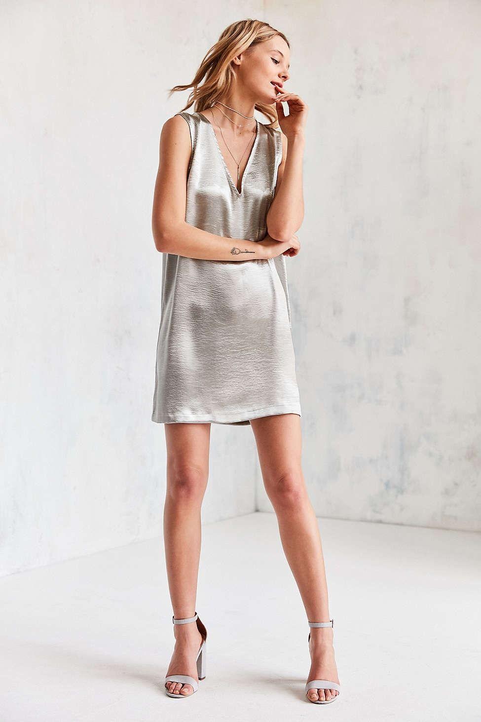 Silence + Noise Deep V Silky Shine Shift Dress - Urban Outfitters
