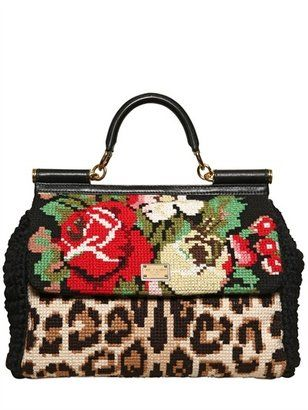 81f79a54dd7 Dolce   Gabbana Miss Sicily Cross Stitched Top Handle - ShopStyle ...