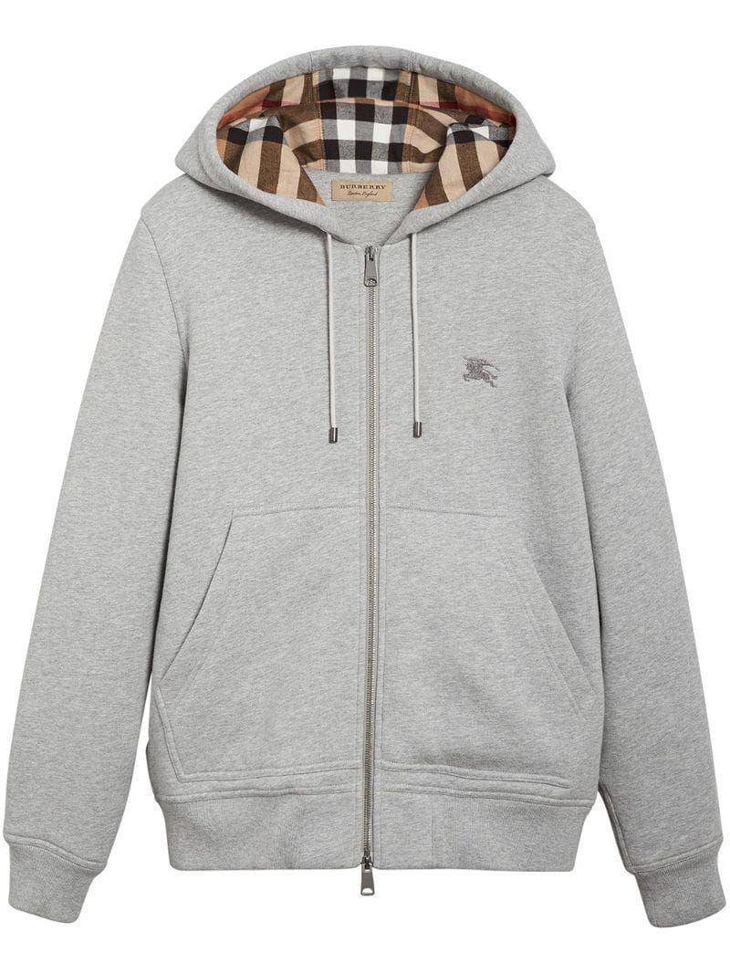 Burberry Check Detail Hooded Sweatshirt Grey Hooded Sweatshirts Grey Hoodie Men Burberry Hoodie [ 1067 x 800 Pixel ]