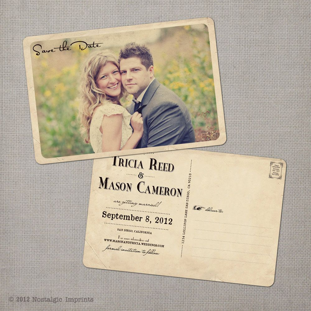 reserved for Ripko - Tricia - Vintage Save the Date Postcard   Wedding