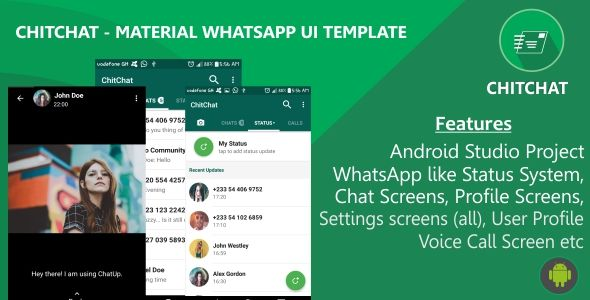 ChitChat - Material WhatsApp UI Template - Price $16 | Codecanyon ...