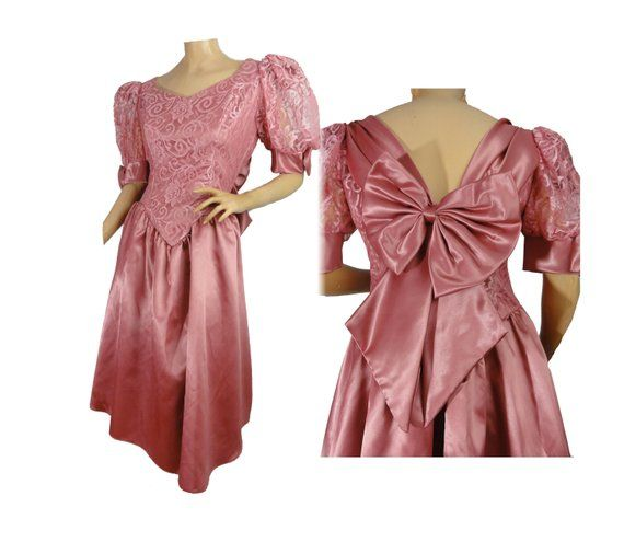 2e9ca3ec7851d Vintage 80s Party Dress Pink Satin Prom Dress Big Bows Puffy Sleeves Lacy  Size Large