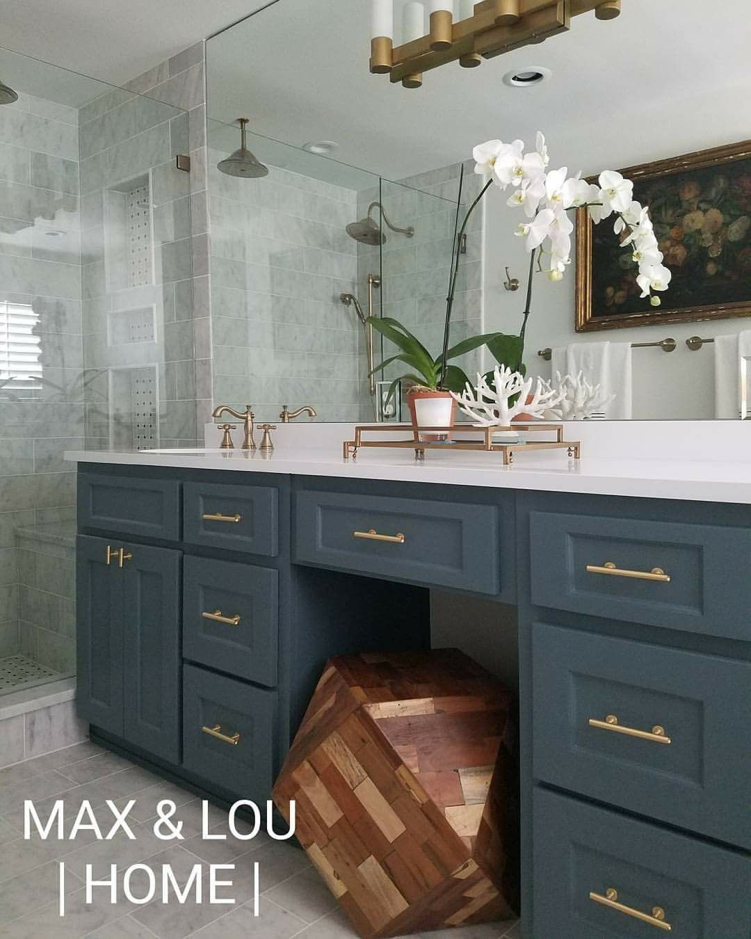 Sherwin Williams Mink Bathroom: Sherwin Williams, Marble Tile, Master Bathroom, Slate Blue Vanity, Brass Hardware, Max & Lou