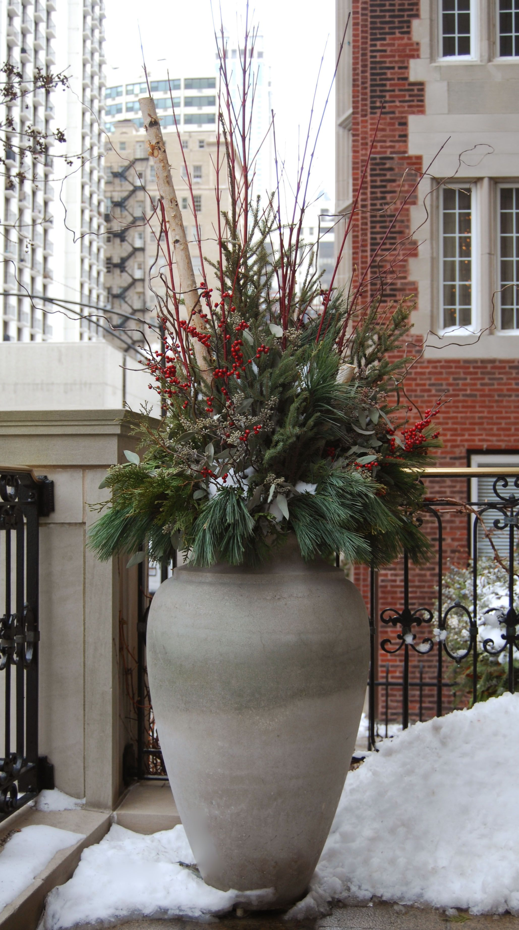 winter holiday christmas decor decorations urn