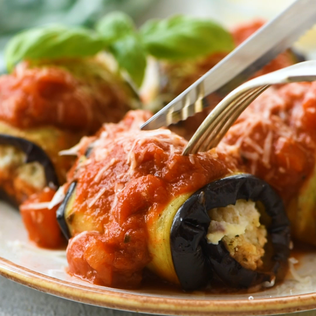 Eggplant Involtini Eggplant Involtini – Roasted sliced eggplant rolled around a ricotta filling with lemon honey and breadcrumbs and baked in pasta sauce.