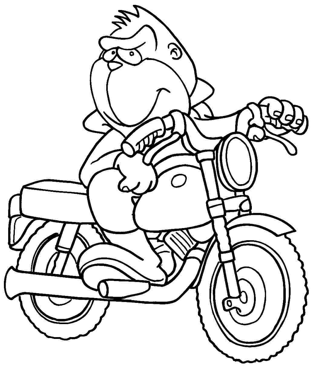 motorcycles driven by monkeys motorcycles coloring pages