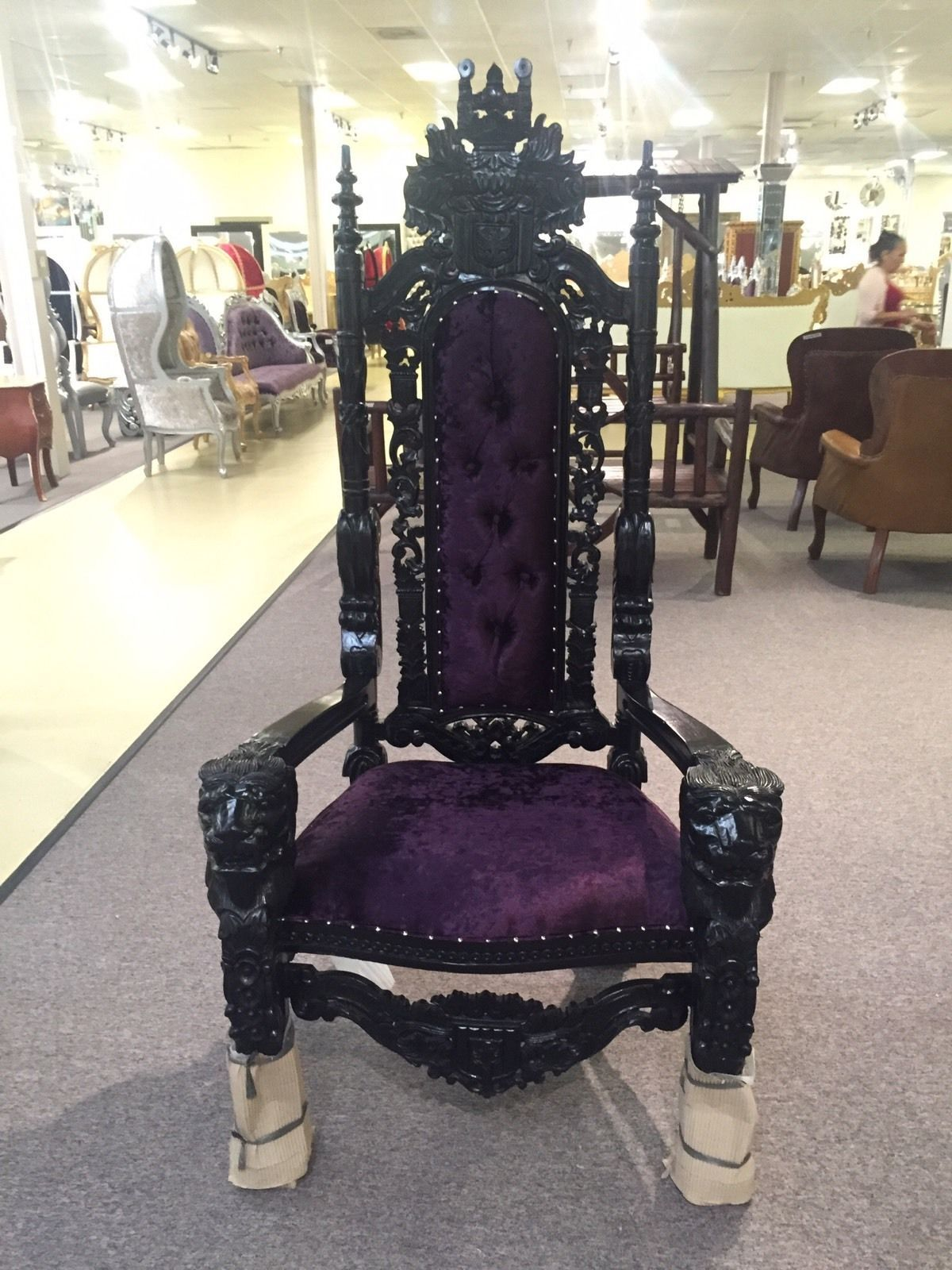 Black Lacquer & Purple Velvet Lord Raffles Throne Chair $899 00