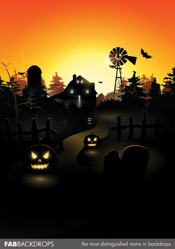 FabVinyl Spooky Farm Sunset Backdrop Halloween Pinterest - halloween backdrop