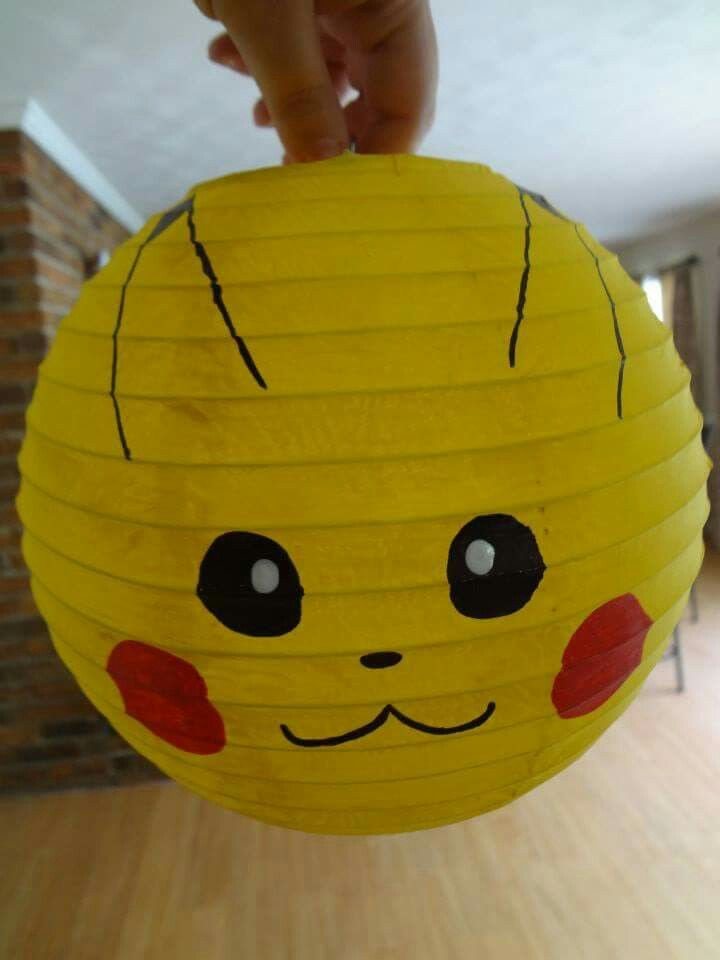 Pikachu Light - took a cheap white lantern and painted it - pokemon kid party