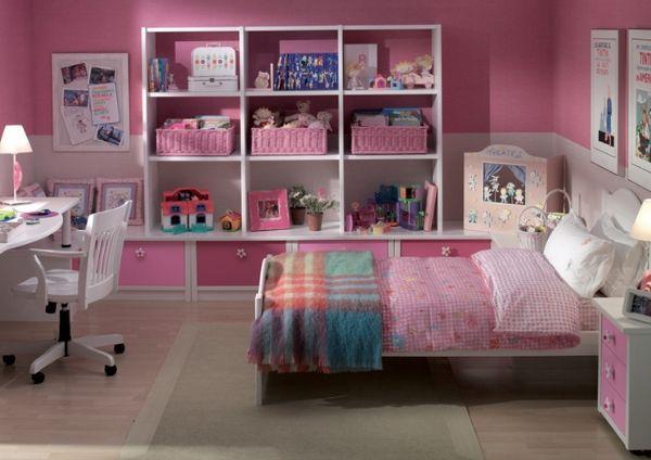 dormitorio infantil con cama individual,estanteria,modulo de cajones y mesa de estudio  www.xikara.net