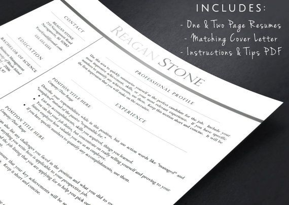 Professional Resume Template For Word And By Landeddesignstudio