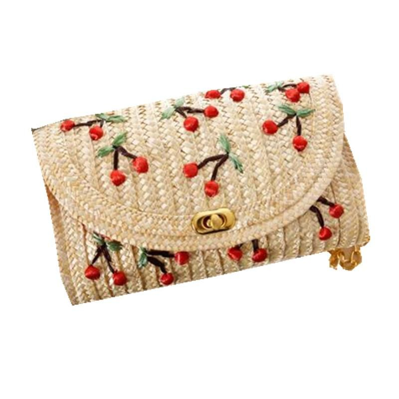 Visit to Buy] Fruit Cherry Banana Straw Beach Bag for Women ...
