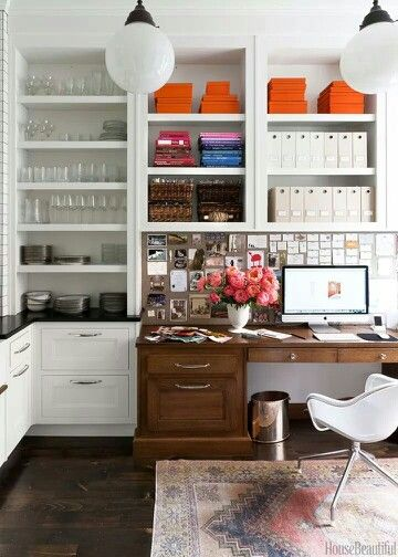 Chic office organization white with pops of color. Walnut desk