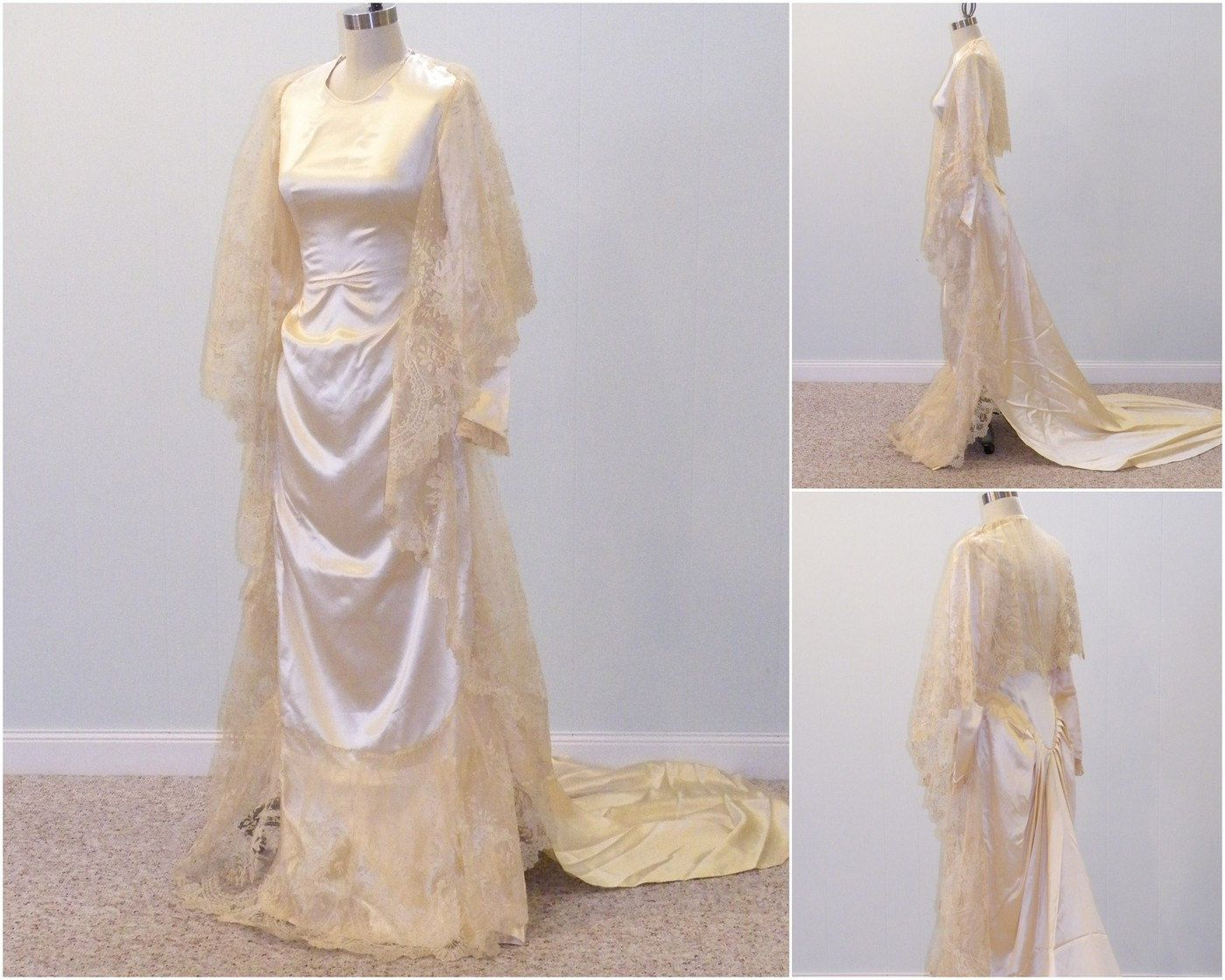 RESERVED DRESS for LOUISE Antique Brussels Lace 1930s Wedding Dress ...