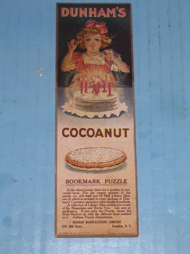 Dunham's Cocoanut Bookmark w Strange Faces Puzzle Victorian Trade Card 1910