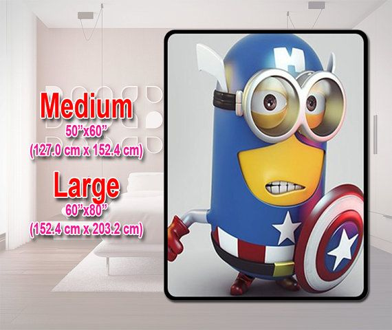 "Fleece Blanket - Tim And Phil Despicable Me 2 Captain America Fleece Blanket Bedding Size Medium 50"" X 60"" & Large 60"" X 80"" Great Deal on Etsy, $32.00"