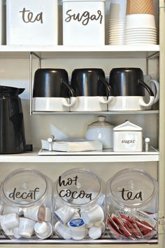 organize a coffee cabinet with free printable labels
