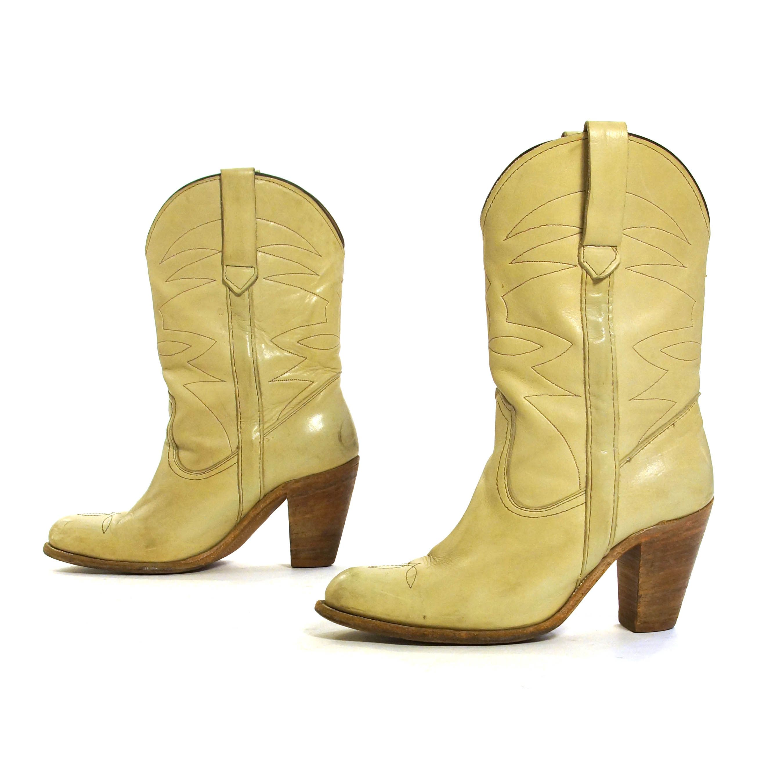 7eec1bd6710 FRYE High Heel Cowboy Boots Vintage 70s Embroidered Distressed Off ...