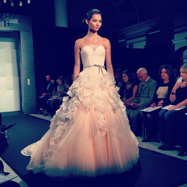 Pink wedding dress on the Mark Zunino runway at Kleinfeld | Colorful ...
