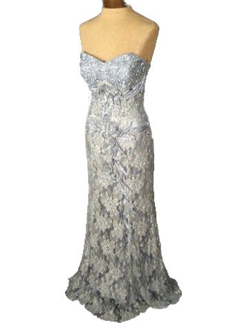 ab69d717 40'S INSPIRED STRAPLESS EVENING GOWN-SILVER SATIN AND SEQUINED LACE #Retro # Fashion #BlueVelvetVintage