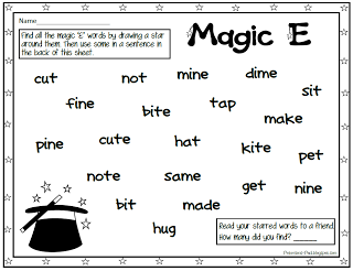 "Free ""Magic E"" word search. Tons of other free activities and printables on this site also."