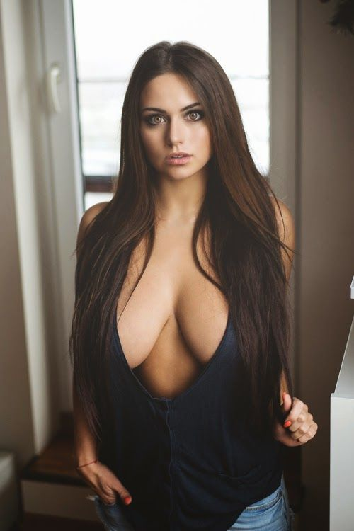 Dem Hot Beautiful Busty Brunette With Big Eyes In Black To