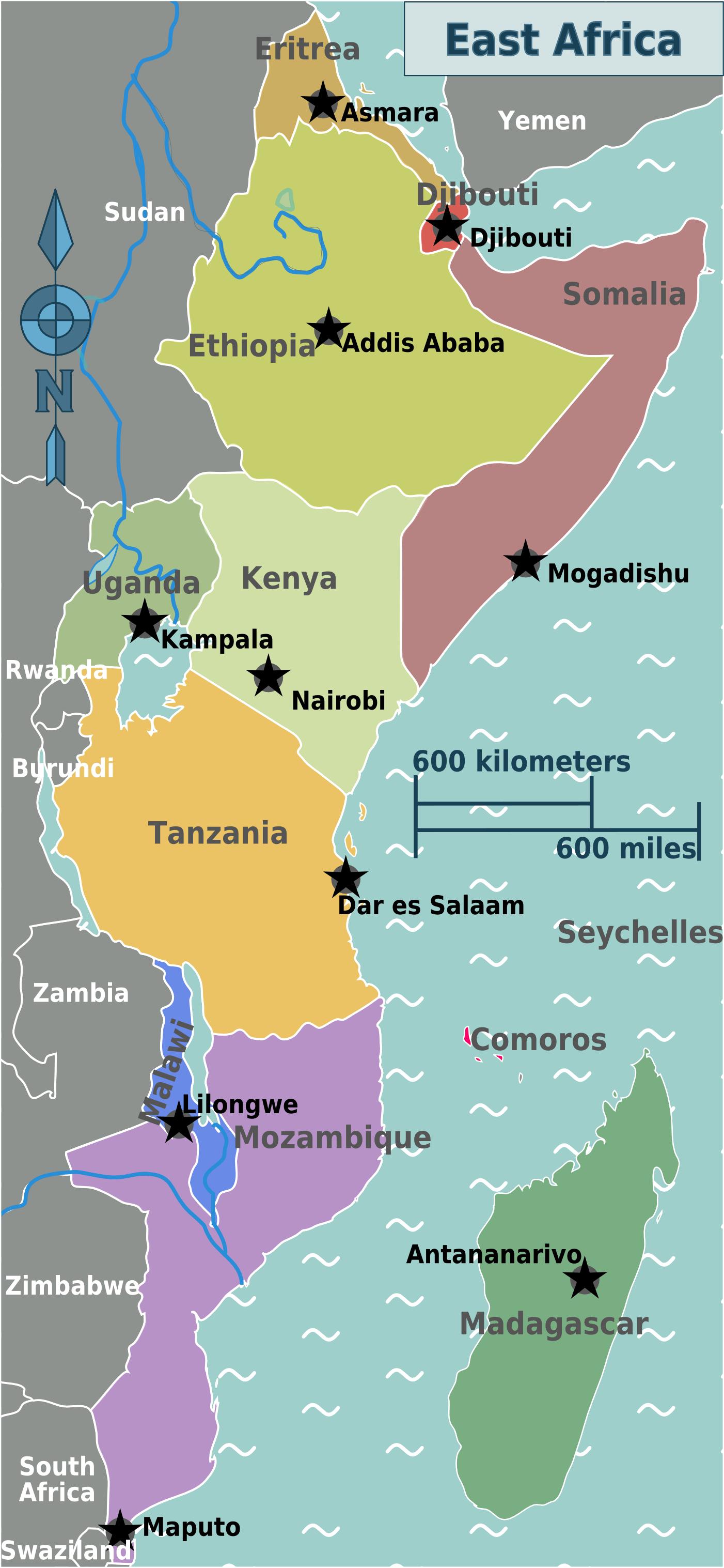East Africa Regions Map Mapsofnet Africa Pinterest East - Regions of africa