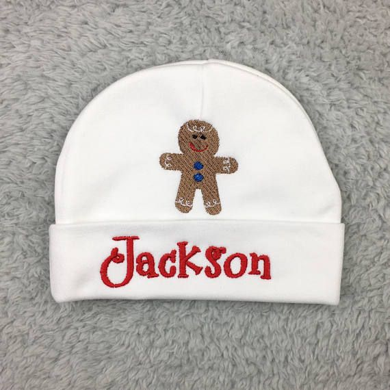 44822bbc3cf Personalized baby hat with Gingerbread man preemie hat