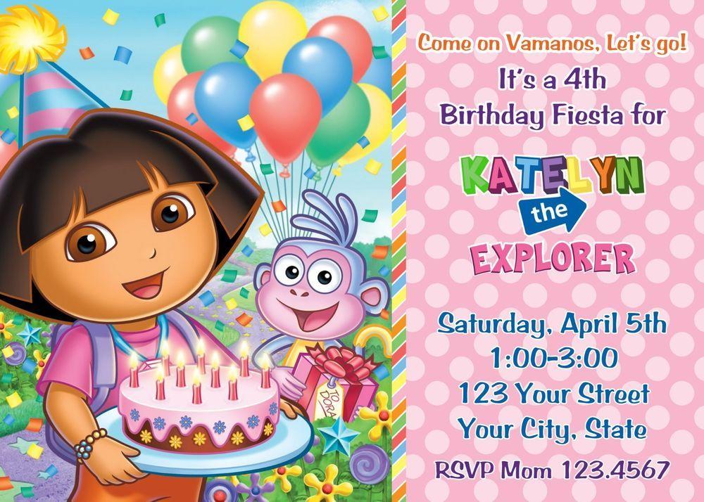 Nick Jr Nickelodeon Dora the explorer invitation personalized