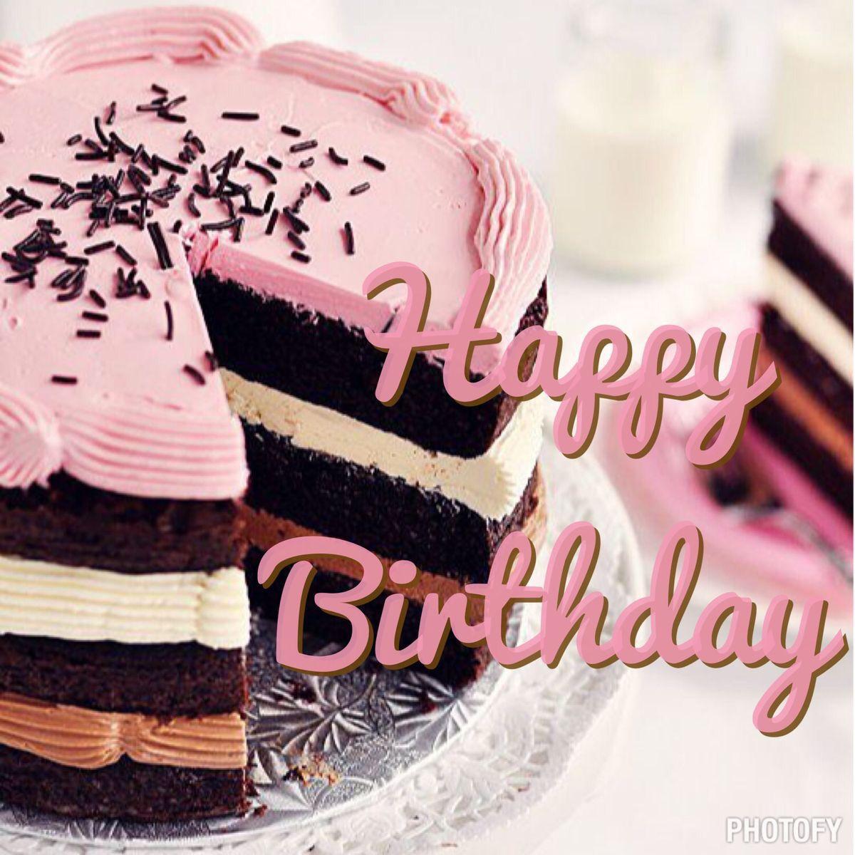 Happy Birthday Pastel De Chocolate En Rosa Happy Birthday
