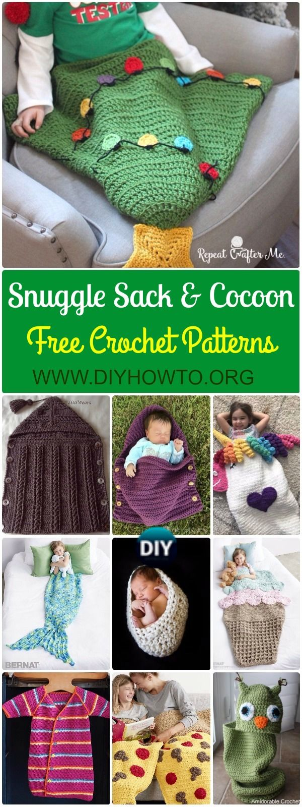 Crochet Snuggle Sack & Cocoon Free Patterns & Tutorials | Baby sack ...