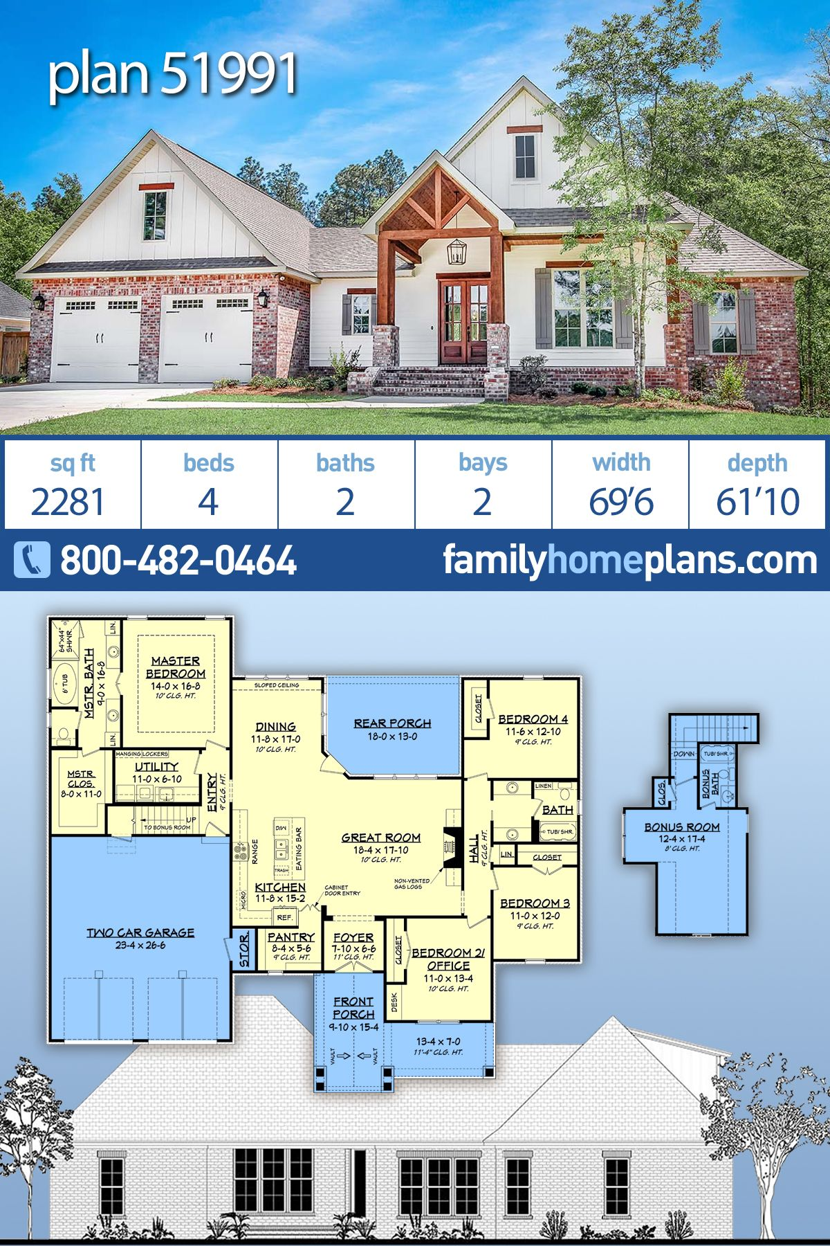 Traditional Style House Plan 51991 With 4 Bed 2 Bath 2 Car Garage New House Plans House Plans Farmhouse Dream House Plans