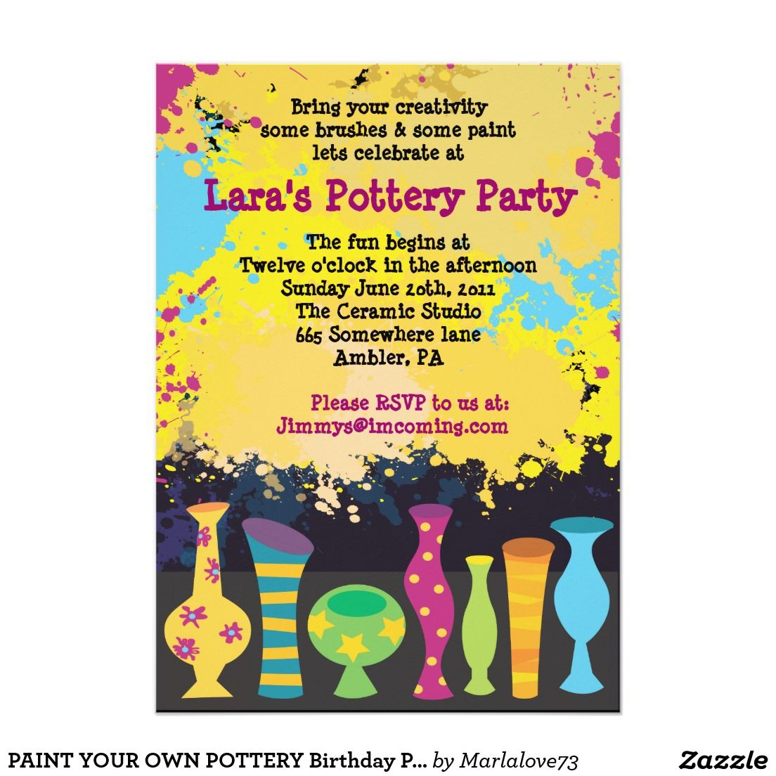 YOUR OWN POTTERY Birthday Party Invitation