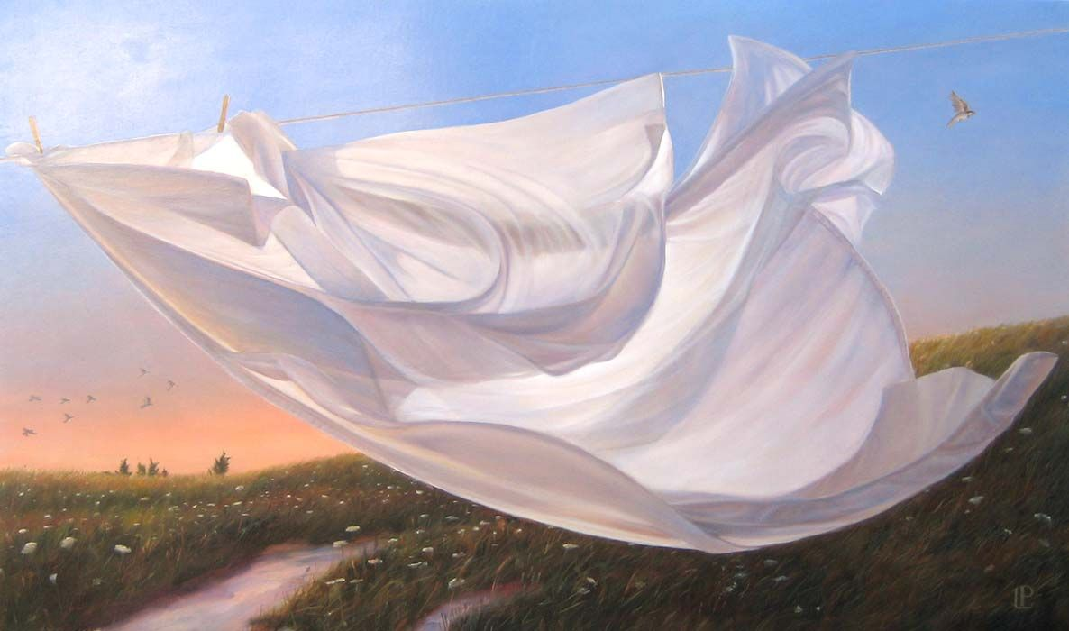 Image result for Lorena Pugh Surreal Oil Painting of Sheet on Clothesline in the Country