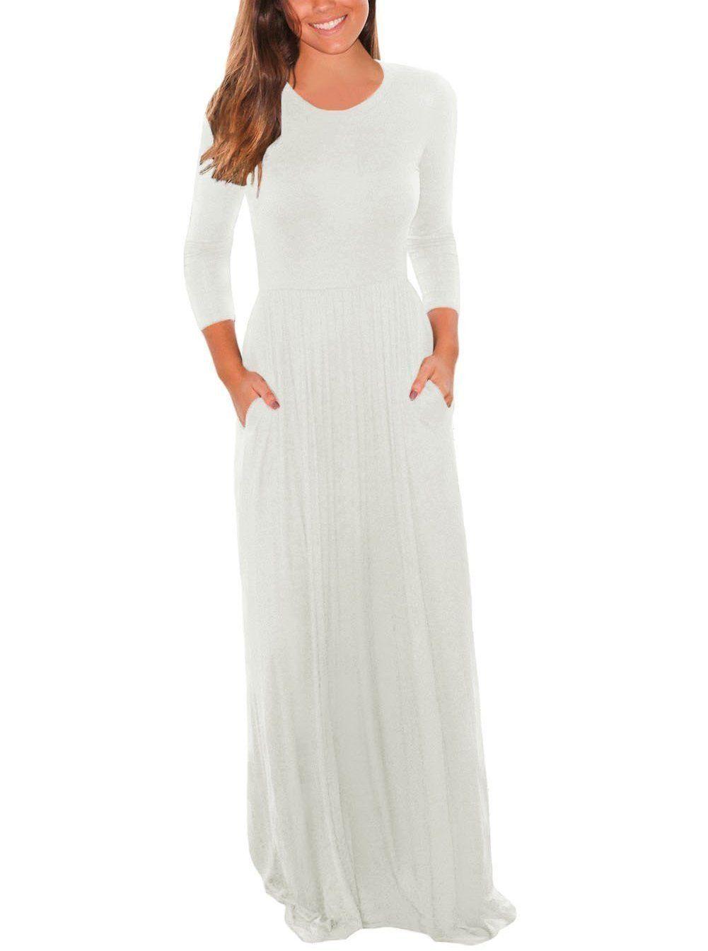 Pocket Design 3 4 Sleeves Maxi Dress Maxi Dress [ 1345 x 1001 Pixel ]