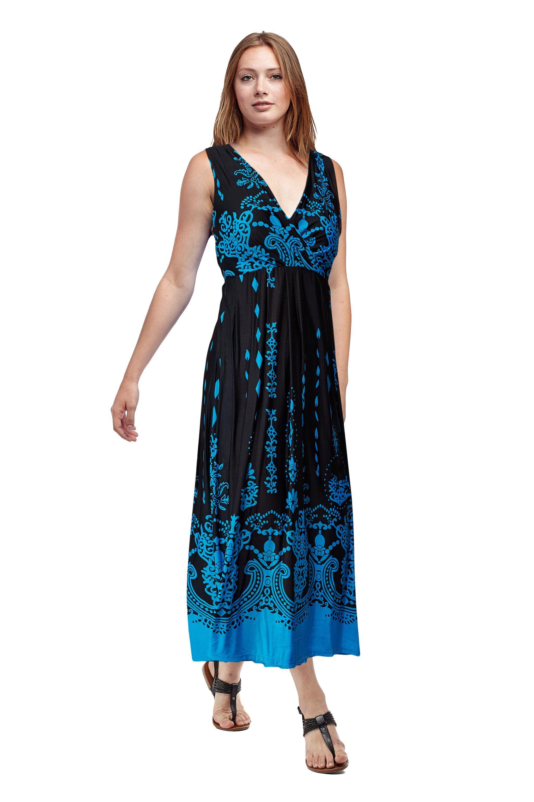 Photo of La Cera Paisley Border Print Sleeveless Printed Maxi Dress – S – 6-8 / Black/Turquoise