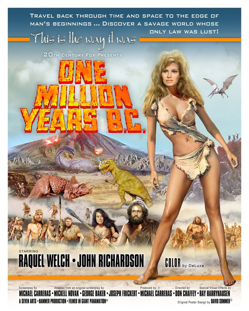 An incredibly tidy poster for One Million Years B.C. (1966) | Exploitation  film, Classic movie posters, Cinema posters