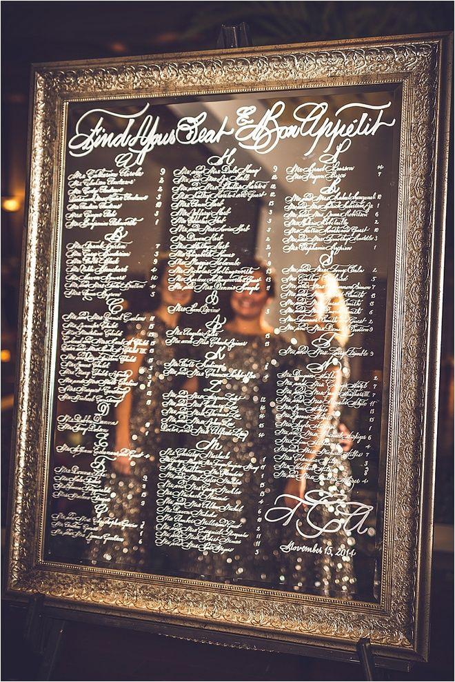 Blush Ivory Silver Wedding At Omni Houston Hotel Houston Wedding Blog Mirror Seating Chart Seating Chart Wedding Seating Charts