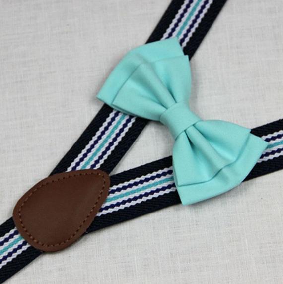c674c82305d6 Aqua bowties,BOWTIE SUSPENDER SET,blue stripe suspenders,infant bowties,toddler  bowtie,boy bowtie,m