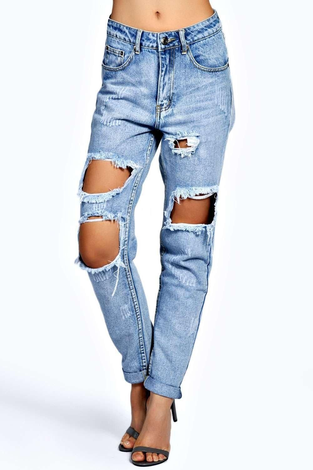 dc174ed4aaf548 Petite Brianna Extreme Ripped Boyfriend Jeans | makeover | Light ...