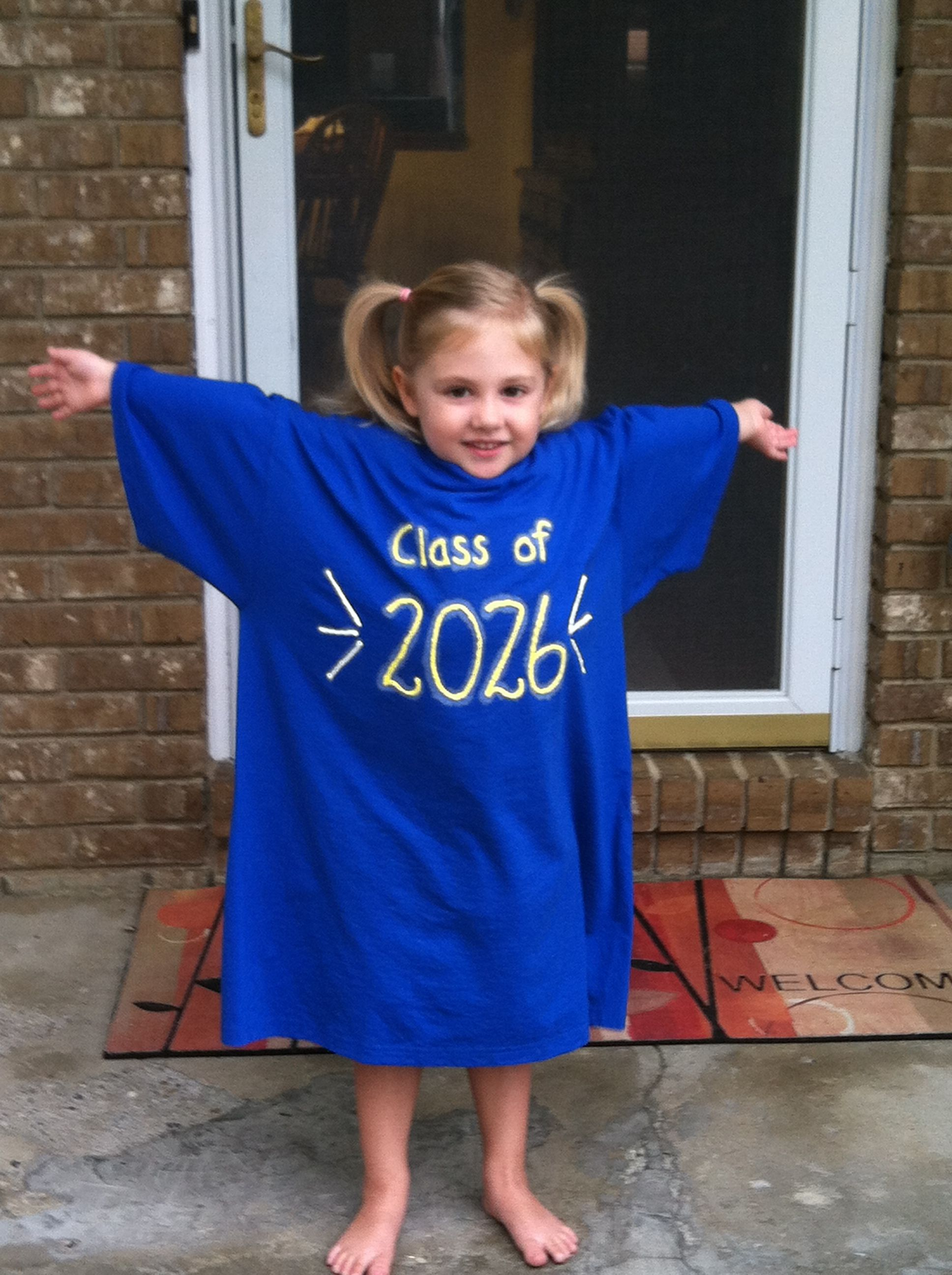 Mary's 1st day of Preschool Class of 2026. Wear every