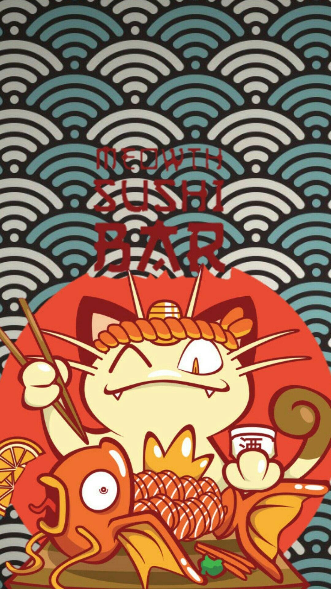 Meowth Sushi Bar Wallpaper Pokemon Art Anime Wallpaper Japanese Art
