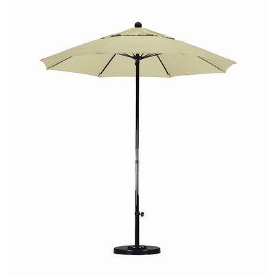 Beachcrest Home April 7.5' Market Umbrella Fabric: Sunbrella A Antique Beige, Frame Finish: Matted Black