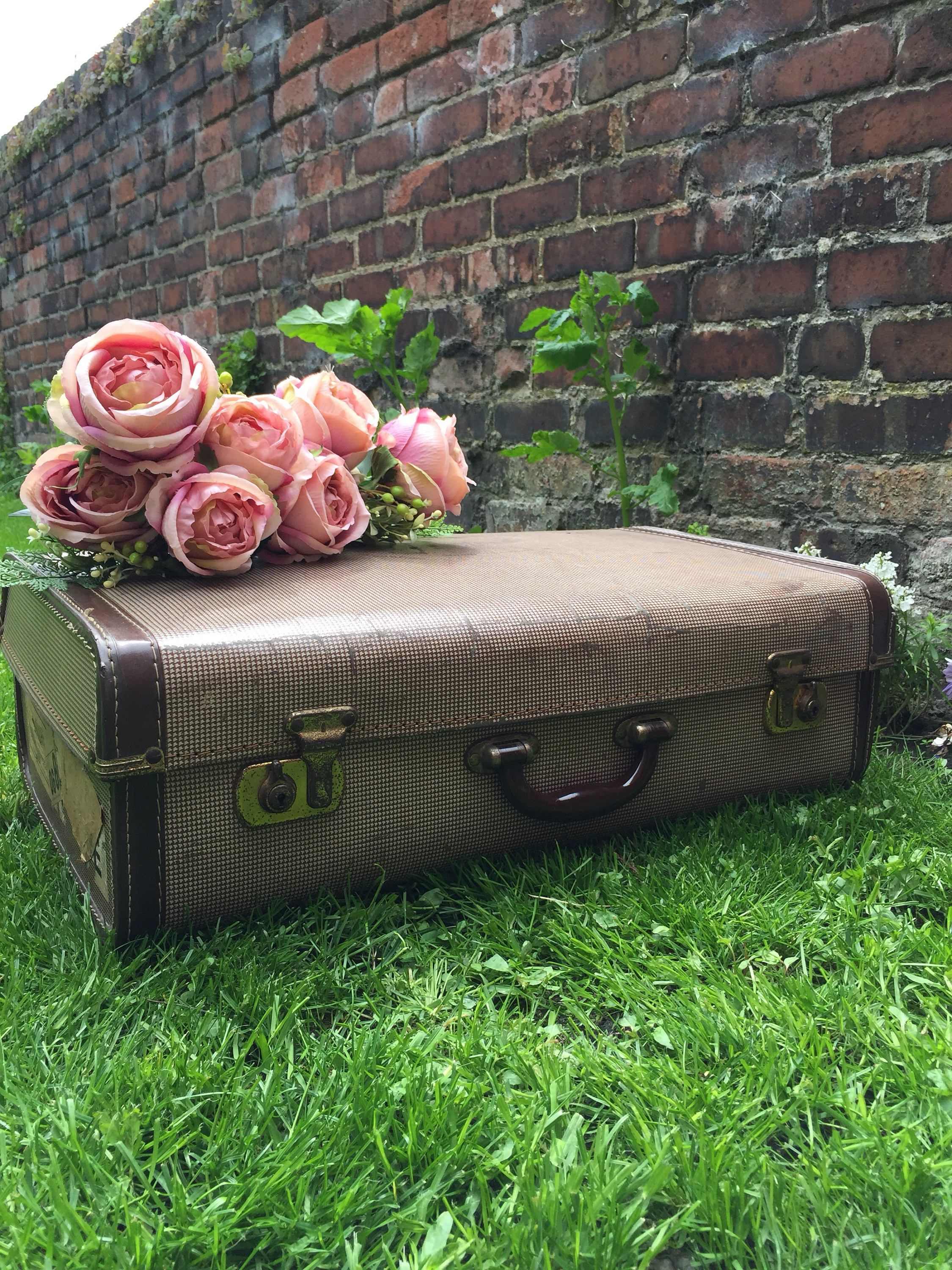 Cream And Brown Vintage Suitcase   Vintage Luggage
