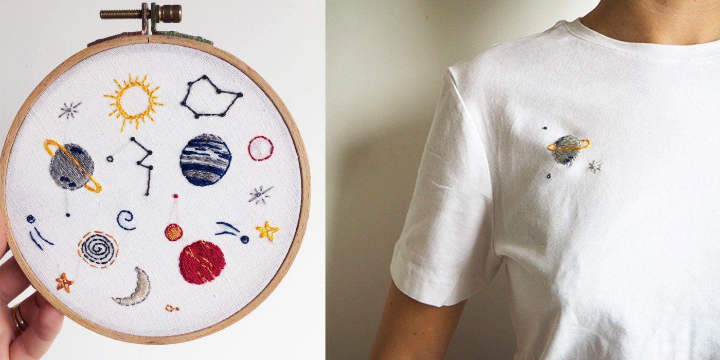 broder une plan te sur un t shirt couture sewing. Black Bedroom Furniture Sets. Home Design Ideas