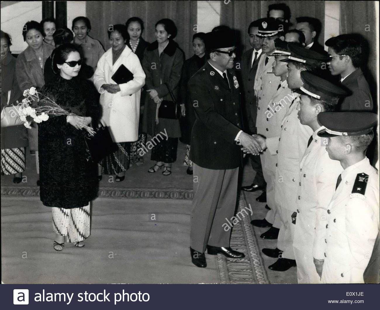 Download this stock image oct 17 1964 here are president download this stock image oct 17 1964 here are president sukarno and his wife greeting members of indonesian embassy upon their arrival in paris m4hsunfo