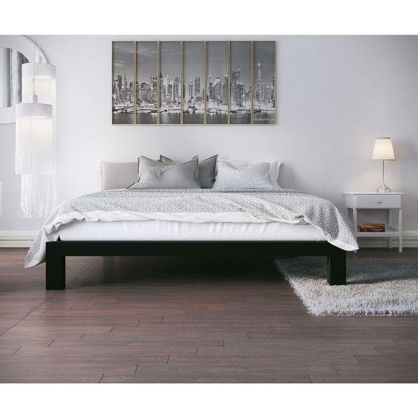 Vesta Black Metal Slatted Platform Bed Apartment Home Metal