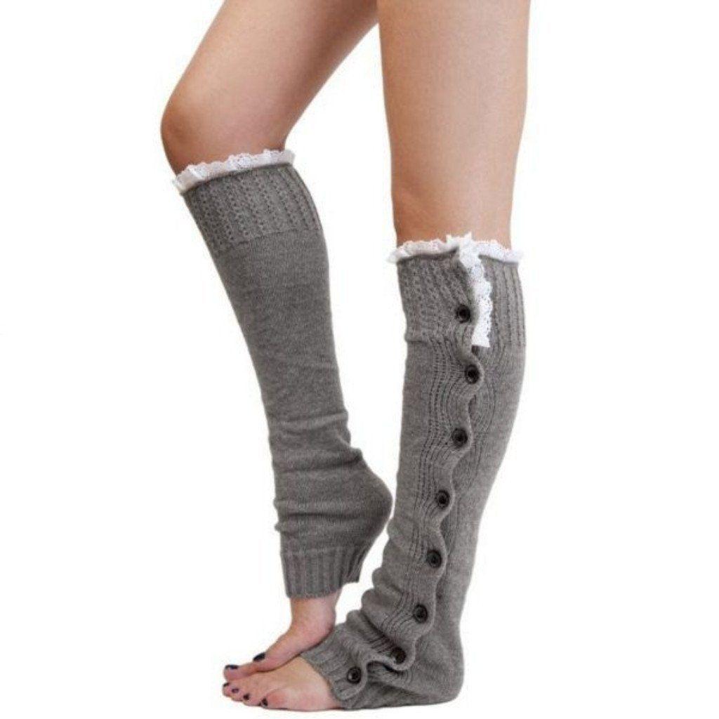 Leg Button Lace Knitted Women Boots Socks