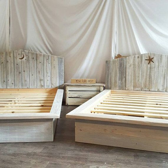 Kate bed. Weathered grey, white, and natural wood tones platform ...